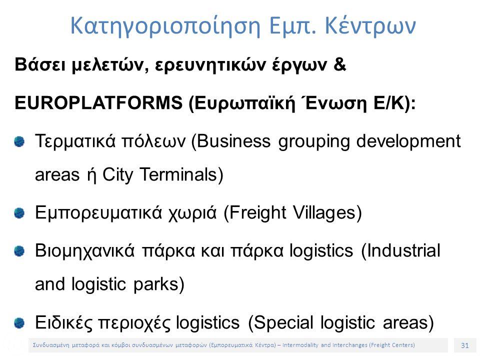 31 Συνδυασμένη μεταφορά και κόμβοι συνδυασμένων μεταφορών (Εμπορευματικά Κέντρα) – Intermodality and Interchanges (Freight Centers) Βάσει μελετών, ερευνητικών έργων & EUROPLATFORMS (Ευρωπαϊκή Ένωση Ε/Κ): Τερματικά πόλεων (Business grouping development areas ή City Terminals) Εμπορευματικά χωριά (Freight Villages) Βιομηχανικά πάρκα και πάρκα logistics (Industrial and logistic parks) Ειδικές περιοχές logistics (Special logistic areas) Κατηγοριοποίηση Εμπ.
