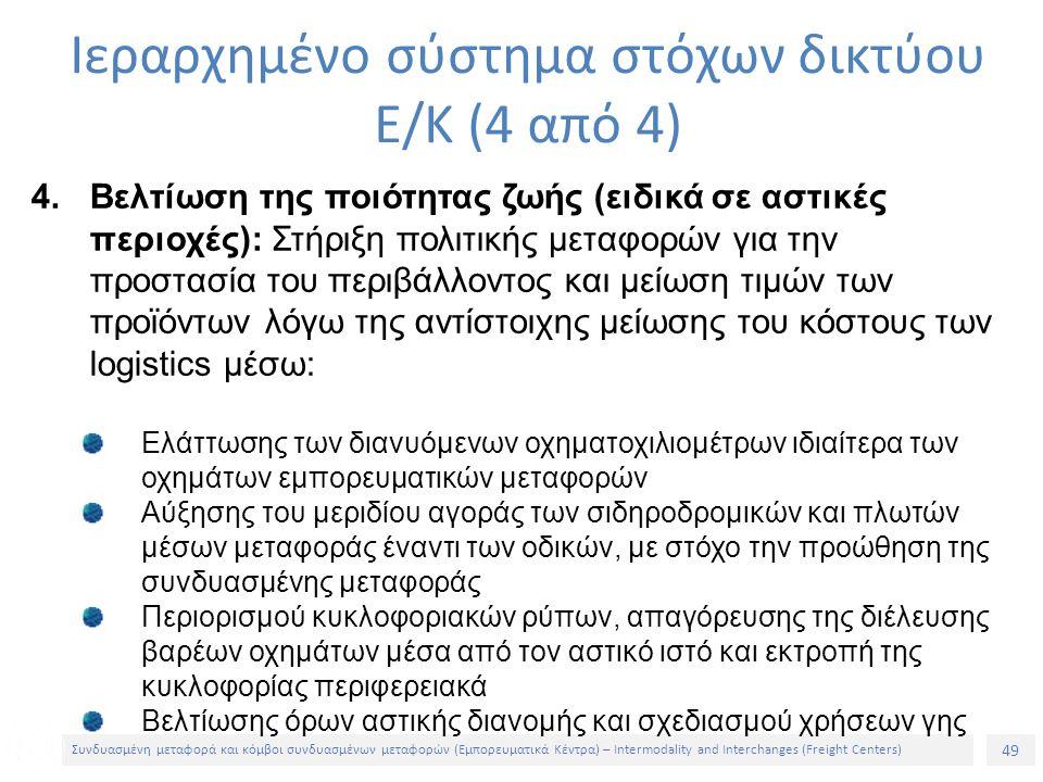 49 Συνδυασμένη μεταφορά και κόμβοι συνδυασμένων μεταφορών (Εμπορευματικά Κέντρα) – Intermodality and Interchanges (Freight Centers) 4.Βελτίωση της ποιότητας ζωής (ειδικά σε αστικές περιοχές): Στήριξη πολιτικής μεταφορών για την προστασία του περιβάλλοντος και μείωση τιμών των προϊόντων λόγω της αντίστοιχης μείωσης του κόστους των logistics μέσω: Ελάττωσης των διανυόμενων οχηματοχιλιομέτρων ιδιαίτερα των οχημάτων εμπορευματικών μεταφορών Αύξησης του μεριδίου αγοράς των σιδηροδρομικών και πλωτών μέσων μεταφοράς έναντι των οδικών, με στόχο την προώθηση της συνδυασμένης μεταφοράς Περιορισμού κυκλοφοριακών ρύπων, απαγόρευσης της διέλευσης βαρέων οχημάτων μέσα από τον αστικό ιστό και εκτροπή της κυκλοφορίας περιφερειακά Βελτίωσης όρων αστικής διανομής και σχεδιασμού χρήσεων γης Ιεραρχημένο σύστημα στόχων δικτύου Ε/Κ (4 από 4)