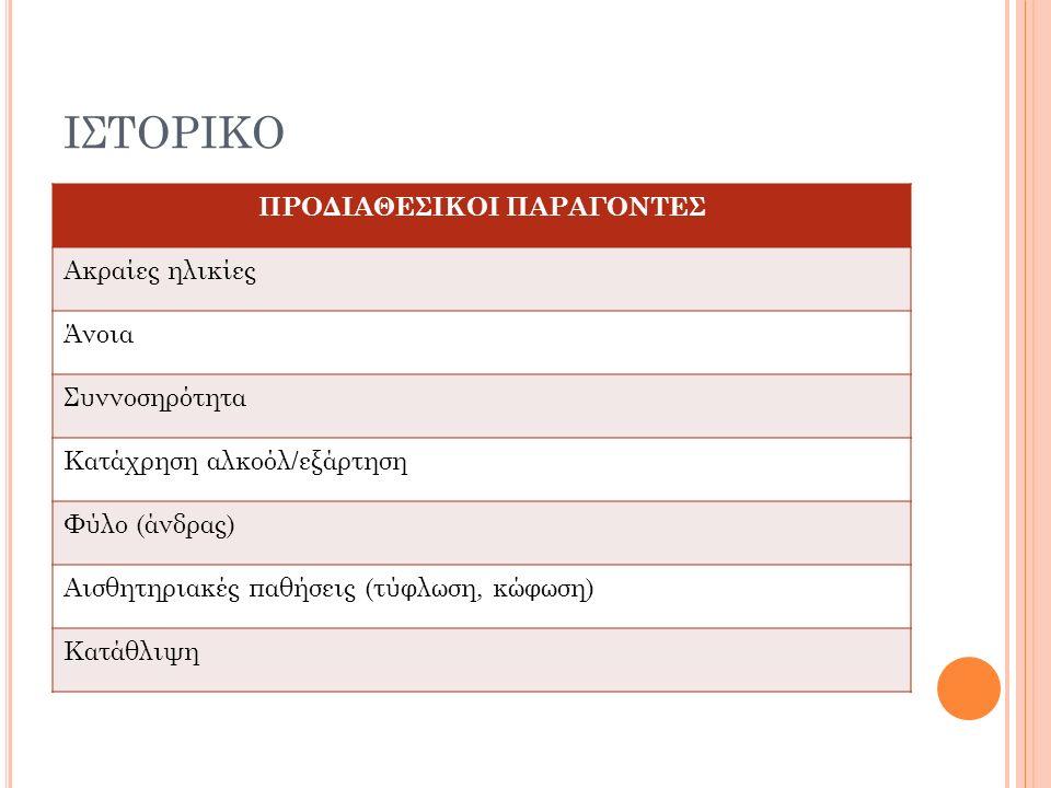 ΙΣΤΟΡΙΚΟ ΠΡΟΔΙΑΘΕΣΙΚΟΙ ΠΑΡΑΓΟΝΤΕΣ Ακραίες ηλικίες Άνοια Συννοσηρότητα Κατάχρηση αλκοόλ/εξάρτηση Φύλο (άνδρας) Αισθητηριακές παθήσεις (τύφλωση, κώφωση) Κατάθλιψη