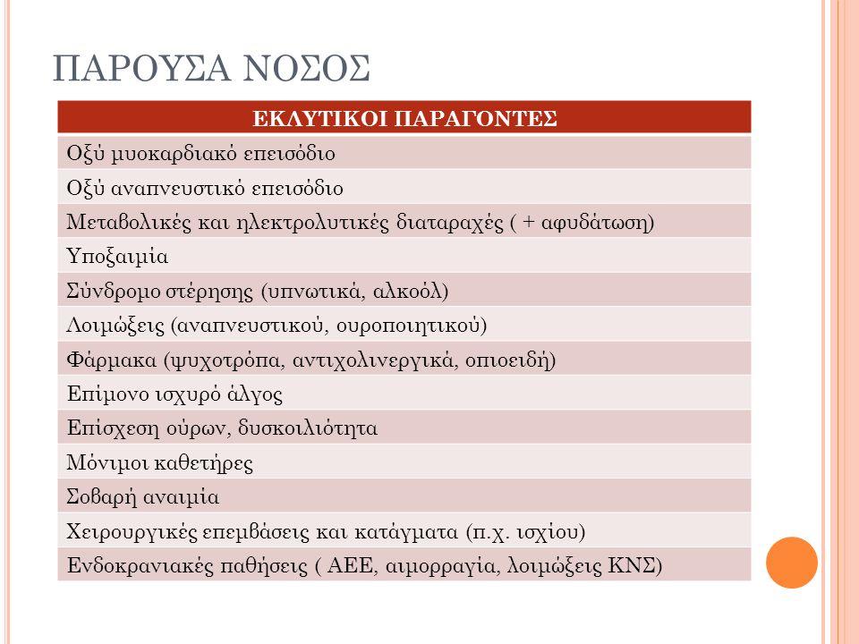 ΠΑΡΟΥΣΑ ΝΟΣΟΣ ΕΚΛΥΤΙΚΟΙ ΠΑΡΑΓΟΝΤΕΣ Οξύ μυοκαρδιακό επεισόδιο Οξύ αναπνευστικό επεισόδιο Μεταβολικές και ηλεκτρολυτικές διαταραχές ( + αφυδάτωση) Υποξαιμία Σύνδρομο στέρησης (υπνωτικά, αλκοόλ) Λοιμώξεις (αναπνευστικού, ουροποιητικού) Φάρμακα (ψυχοτρόπα, αντιχολινεργικά, οπιοειδή) Επίμονο ισχυρό άλγος Επίσχεση ούρων, δυσκοιλιότητα Μόνιμοι καθετήρες Σοβαρή αναιμία Χειρουργικές επεμβάσεις και κατάγματα (π.χ.
