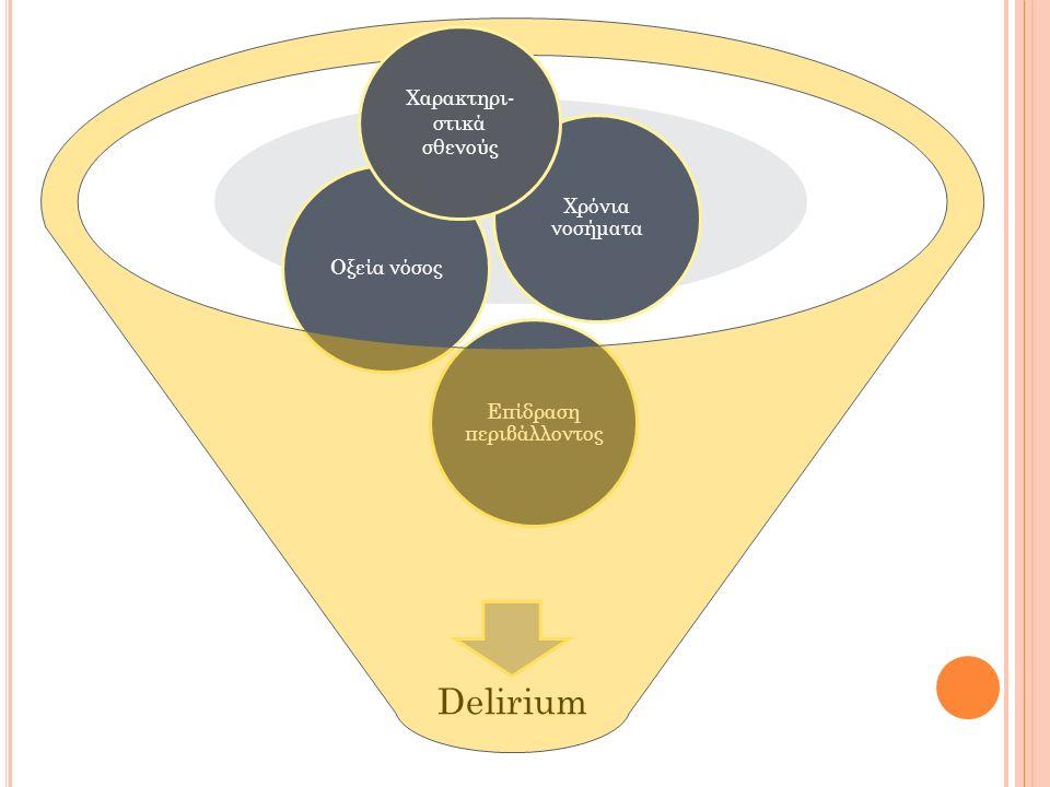 Delirium Επίδραση περιβάλλοντος Οξεία νόσος Χρόνια νοσήματα Χαρακτηρι- στικά σθενούς
