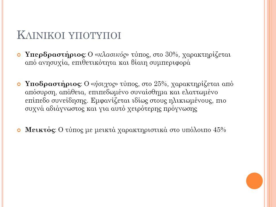 Κ ΛΙΝΙΚΟΙ ΥΠΟΤΥΠΟΙ Υπερδραστήριος : Ο « κλασικός » τύπος, στο 30%, χαρακτηρίζεται από ανησυχία, επιθετικότητα και βίαιη συμπεριφορά Υποδραστήριος : Ο