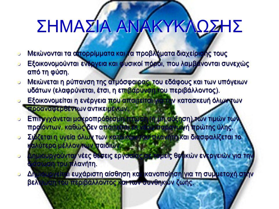 ΣΗΜΑΣΙΑ ΑΝΑΚΥΚΛΩΣΗΣ Μειώνονται τα απορρίμματα και τα προβλήματα διαχείρισής τους Μειώνονται τα απορρίμματα και τα προβλήματα διαχείρισής τους Εξοικονομούνται ενέργεια και φυσικοί πόροι, που λαμβάνονται συνεχώς από τη φύση.