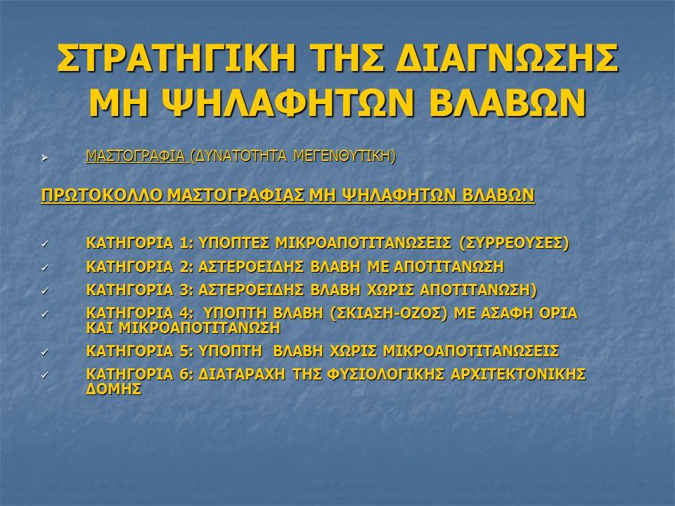 ΣΤΡΑΤΗΓΙΚΗ ΤΗΣ ΔΙΑΓΝΩΣΗΣ ΜΗ ΨΗΛΑΦΗΤΩΝ ΒΛΑΒΩΝ  ΜΑΣΤΟΓΡΑΦΙΑ (ΔΥΝΑΤΟΤΗΤΑ ΜΕΓΕΝΘΥΤΙΚΗ) ΠΡΩΤΟΚΟΛΛΟ ΜΑΣΤΟΓΡΑΦΙΑΣ ΜΗ ΨΗΛΑΦΗΤΩΝ ΒΛΑΒΩΝ ΚΑΤΗΓΟΡΙΑ 1: ΥΠΟΠΤΕΣ ΜΙΚΡΟΑΠΟΤΙΤΑΝΩΣΕΙΣ (ΣΥΡΡΕΟΥΣΕΣ) ΚΑΤΗΓΟΡΙΑ 1: ΥΠΟΠΤΕΣ ΜΙΚΡΟΑΠΟΤΙΤΑΝΩΣΕΙΣ (ΣΥΡΡΕΟΥΣΕΣ) ΚΑΤΗΓΟΡΙΑ 2: ΑΣΤΕΡΟΕΙΔΗΣ ΒΛΑΒΗ ΜΕ ΑΠΟΤΙΤΑΝΩΣΗ ΚΑΤΗΓΟΡΙΑ 2: ΑΣΤΕΡΟΕΙΔΗΣ ΒΛΑΒΗ ΜΕ ΑΠΟΤΙΤΑΝΩΣΗ ΚΑΤΗΓΟΡΙΑ 3: ΑΣΤΕΡΟΕΙΔΗΣ ΒΛΑΒΗ ΧΩΡΙΣ ΑΠΟΤΙΤΑΝΩΣΗ) ΚΑΤΗΓΟΡΙΑ 3: ΑΣΤΕΡΟΕΙΔΗΣ ΒΛΑΒΗ ΧΩΡΙΣ ΑΠΟΤΙΤΑΝΩΣΗ) ΚΑΤΗΓΟΡΙΑ 4: ΥΠΟΠΤΗ ΒΛΑΒΗ (ΣΚΙΑΣΗ-ΟΖΟΣ) ΜΕ ΑΣΑΦΗ ΟΡΙΑ ΚΑΙ ΜΙΚΡΟΑΠΟΤΙΤΑΝΩΣΗ ΚΑΤΗΓΟΡΙΑ 4: ΥΠΟΠΤΗ ΒΛΑΒΗ (ΣΚΙΑΣΗ-ΟΖΟΣ) ΜΕ ΑΣΑΦΗ ΟΡΙΑ ΚΑΙ ΜΙΚΡΟΑΠΟΤΙΤΑΝΩΣΗ ΚΑΤΗΓΟΡΙΑ 5: ΥΠΟΠΤΗ ΒΛΑΒΗ ΧΩΡΙΣ ΜΙΚΡΟΑΠΟΤΙΤΑΝΩΣΕΙΣ ΚΑΤΗΓΟΡΙΑ 5: ΥΠΟΠΤΗ ΒΛΑΒΗ ΧΩΡΙΣ ΜΙΚΡΟΑΠΟΤΙΤΑΝΩΣΕΙΣ ΚΑΤΗΓΟΡΙΑ 6: ΔΙΑΤΑΡΑΧΗ ΤΗΣ ΦΥΣΙΟΛΟΓΙΚΗΣ ΑΡΧΙΤΕΚΤΟΝΙΚΗΣ ΔΟΜΗΣ ΚΑΤΗΓΟΡΙΑ 6: ΔΙΑΤΑΡΑΧΗ ΤΗΣ ΦΥΣΙΟΛΟΓΙΚΗΣ ΑΡΧΙΤΕΚΤΟΝΙΚΗΣ ΔΟΜΗΣ