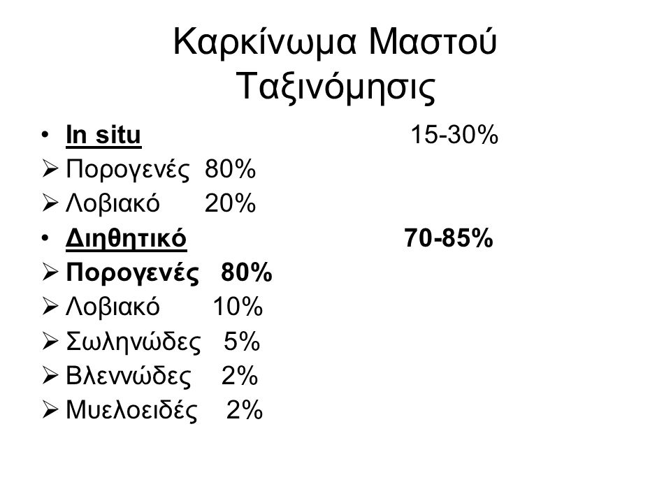 Καρκίνωμα Μαστού Ταξινόμησις In situ 15-30%  Πορογενές 80%  Λοβιακό 20% Διηθητικό 70-85%  Πορογενές 80%  Λοβιακό 10%  Σωληνώδες 5%  Βλεννώδες 2%