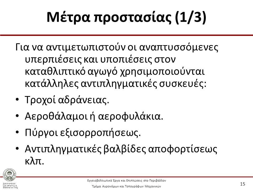 Αριστοτέλειο Πανεπιστήμιο Θεσσαλονίκης Εγγειοβελτιωτικά Έργα και Επιπτώσεις στο Περιβάλλον Τμήμα Αγρονόμων και Τοπογράφων Μηχανικών Μέτρα προστασίας (1/3) Για να αντιμετωπιστούν οι αναπτυσσόμενες υπερπιέσεις και υποπιέσεις στον καταθλιπτικό αγωγό χρησιμοποιούνται κατάλληλες αντιπληγματικές συσκευές: Τροχοί αδράνειας.