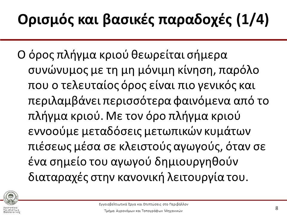 Αριστοτέλειο Πανεπιστήμιο Θεσσαλονίκης Εγγειοβελτιωτικά Έργα και Επιπτώσεις στο Περιβάλλον Τμήμα Αγρονόμων και Τοπογράφων Μηχανικών Ορισμός και βασικές παραδοχές (2/4) Το αποτέλεσμα του φαινομένου αυτού σε έναν αγωγό που δεν έχει σωστή αντιπληγματική προστασία είναι: θραύση των αγωγών.