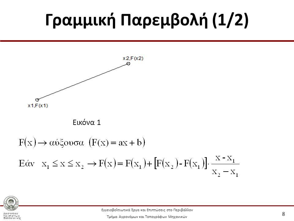 Αριστοτέλειο Πανεπιστήμιο Θεσσαλονίκης Εγγειοβελτιωτικά Έργα και Επιπτώσεις στο Περιβάλλον Τμήμα Αγρονόμων και Τοπογράφων Μηχανικών Γραμμική Παρεμβολή (1/2) 8 Εικόνα 1