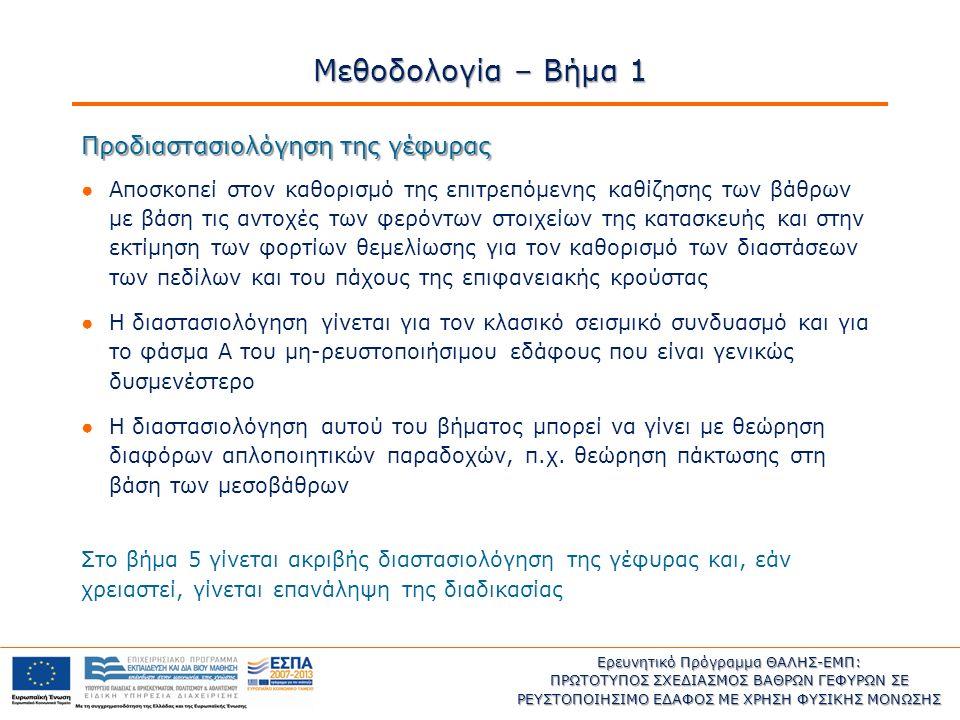 Ερευνητικό Πρόγραμμα ΘΑΛΗΣ-ΕΜΠ: ΠΡΩΤΟΤΥΠΟΣ ΣΧΕΔΙΑΣΜΟΣ ΒΑΘΡΩΝ ΓΕΦΥΡΩΝ ΣΕ ΡΕΥΣΤΟΠΟΙΗΣΙΜΟ ΕΔΑΦΟΣ ΜΕ ΧΡΗΣΗ ΦΥΣΙΚΗΣ ΜΟΝΩΣΗΣ Η παρούσα έρευνα έχει συγχρηματοδοτηθεί από την Ευρωπαϊκή Ένωση (Ευρωπαϊκό Κοινωνικό Ταμείο – ΕΚΤ) και από εθνικούς πόρους μέσω του Επιχειρησιακού Προγράμματος «Εκπαίδευση και Δια Βίου Μάθηση» του Εθνικού Στρατηγικού Πλαισίου Αναφοράς (ΕΣΠΑ) – Ερευνητικό Χρηματοδοτούμενο Έργο: ΘΑΛΗΣ.