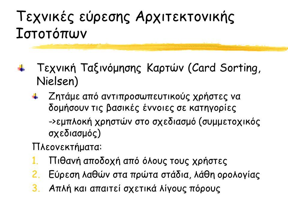 Τεχνικές εύρεσης Αρχιτεκτονικής Ιστοτόπων Τεχνική Ταξινόμησης Καρτών (Card Sorting, Nielsen) Ζητάμε από αντιπροσωπευτικούς χρήστες να δομήσουν τις βασικές έννοιες σε κατηγορίες ->εμπλοκή χρηστών στο σχεδιασμό (συμμετοχικός σχεδιασμός) Πλεονεκτήματα: 1.Πιθανή αποδοχή από όλους τους χρήστες 2.Εύρεση λαθών στα πρώτα στάδια, λάθη ορολογίας 3.Απλή και απαιτεί σχετικά λίγους πόρους