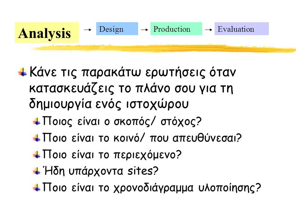 Analysis DesignProductionEvaluation Κάνε τις παρακάτω ερωτήσεις όταν κατασκευάζεις το πλάνο σου για τη δημιουργία ενός ιστοχώρου Ποιος είναι ο σκοπός/ στόχος.