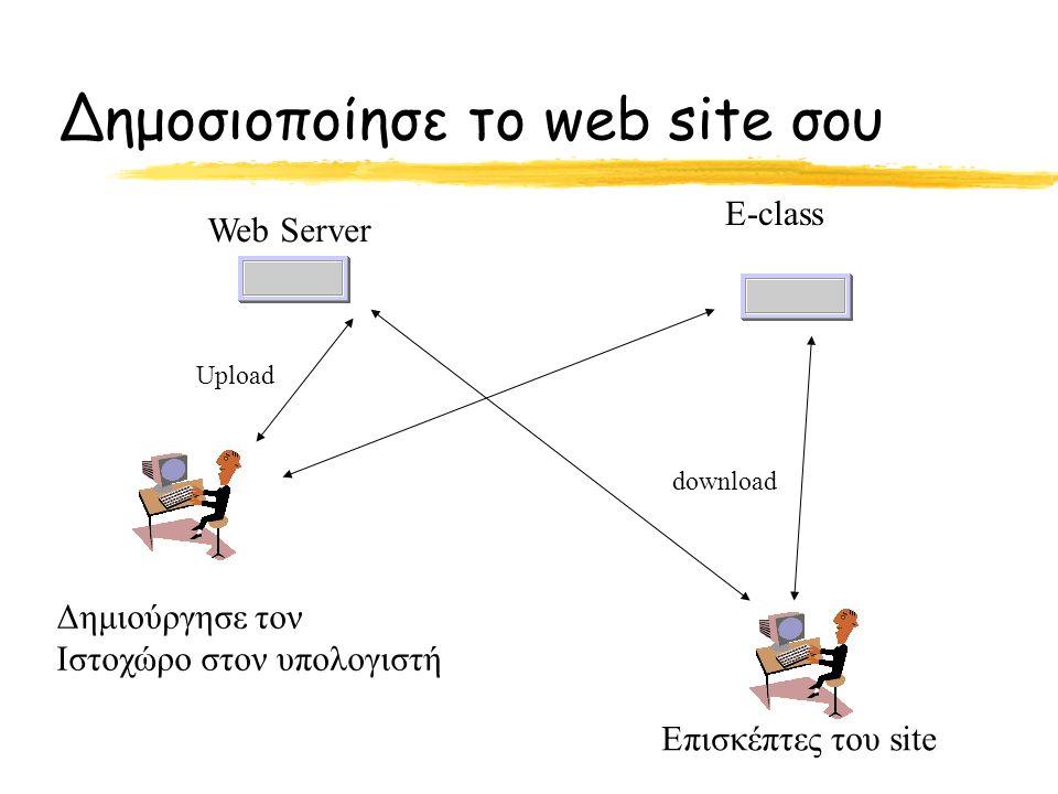 Δημοσιοποίησε το web site σου Δημιούργησε τον Ιστοχώρο στον υπολογιστή Web Server E-class Επισκέπτες του site Upload download