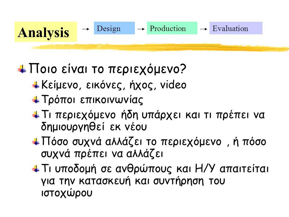 Analysis DesignProductionEvaluation Ποιο είναι το περιεχόμενο.