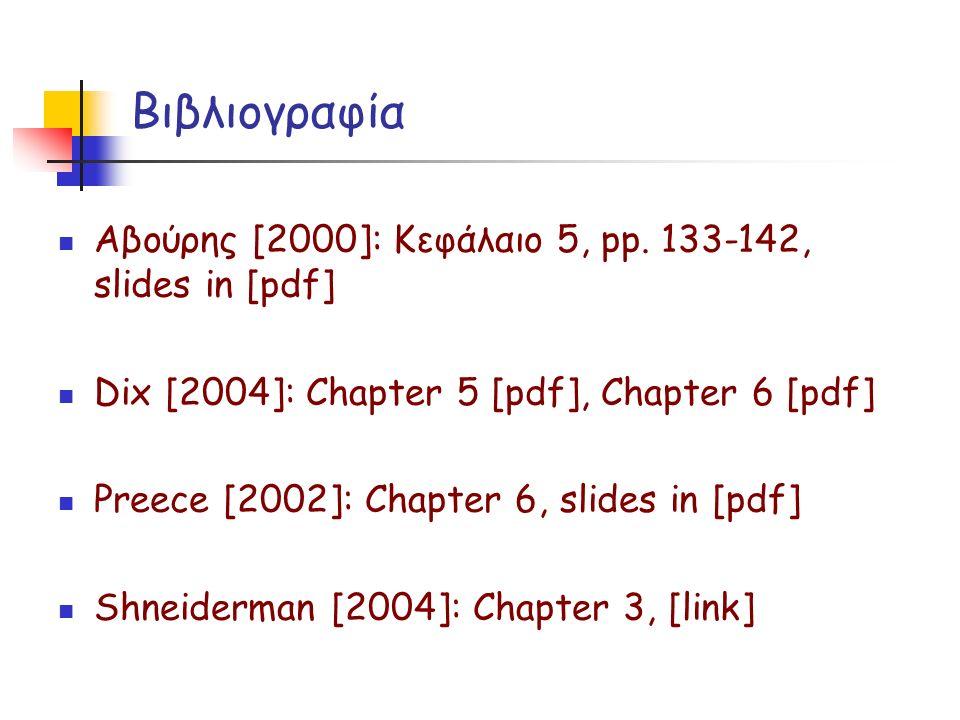 Βιβλιογραφία Αβούρης [2000]: Κεφάλαιο 5, pp.