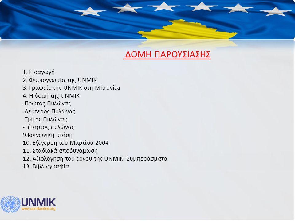 ΔΟΜΗ ΠΑΡΟΥΣΙΑΣΗΣ 1. Εισαγωγή 2. Φυσιογνωμία της UNMIK 3. Γραφείο της UNMIK στη Mitrovica 4. Η δομή της UNMIK -Πρώτος Πυλώνας -Δεύτερος Πυλώνας -Τρίτος
