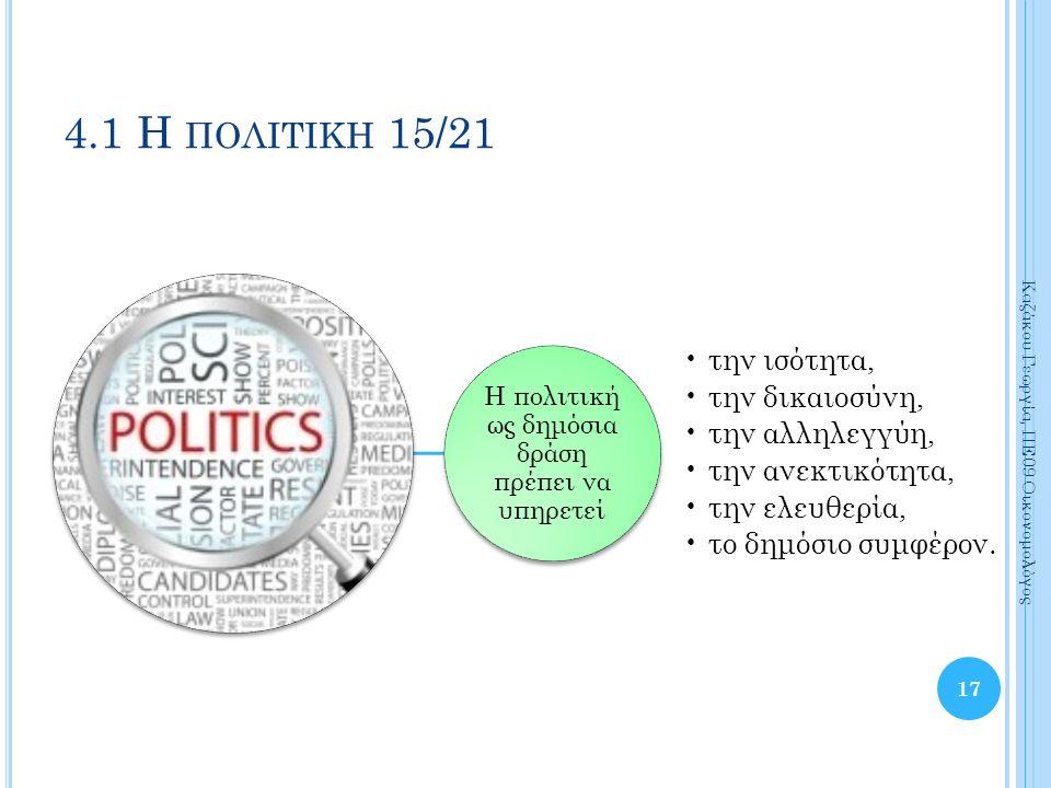 Η πολιτική ως δημόσια δράση πρέπει να υπηρετεί την ισότητα, την δικαιοσύνη, την αλληλεγγύη, την ανεκτικότητα, την ελευθερία, το δημόσιο συμφέρον.