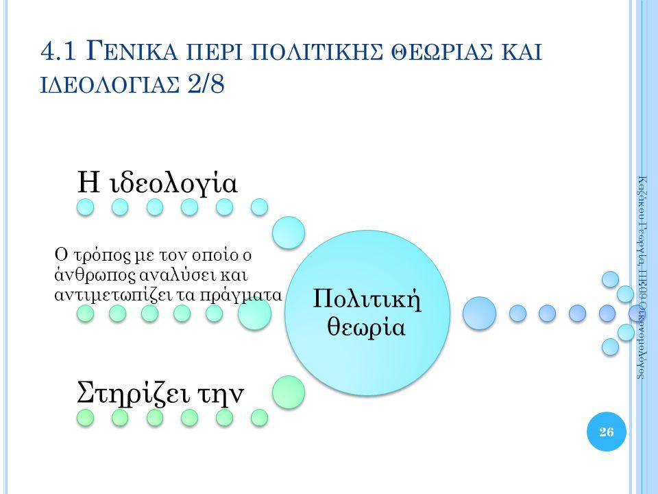 Πολιτική θεωρία Η ιδεολογία Ο τρόπος με τον οποίο ο άνθρωπος αναλύσει και αντιμετωπίζει τα πράγματα Στηρίζει την 26 Καζάκου Γεωργία, ΠΕ09 Οικονομολόγος 4.1 Γ ΕΝΙΚΑ ΠΕΡΙ ΠΟΛΙΤΙΚΗΣ ΘΕΩΡΙΑΣ ΚΑΙ ΙΔΕΟΛΟΓΙΑΣ 2/8