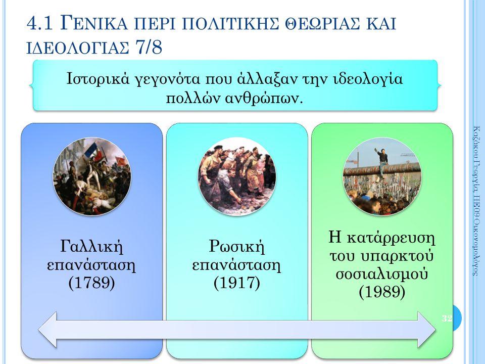 Γαλλική επανάσταση (1789) Ρωσική επανάσταση (1917) Η κατάρρευση του υπαρκτού σοσιαλισμού (1989) 32 Καζάκου Γεωργία, ΠΕ09 Οικονομολόγος 4.1 Γ ΕΝΙΚΑ ΠΕΡΙ ΠΟΛΙΤΙΚΗΣ ΘΕΩΡΙΑΣ ΚΑΙ ΙΔΕΟΛΟΓΙΑΣ 7/8 Ιστορικά γεγονότα που άλλαξαν την ιδεολογία πολλών ανθρώπων.