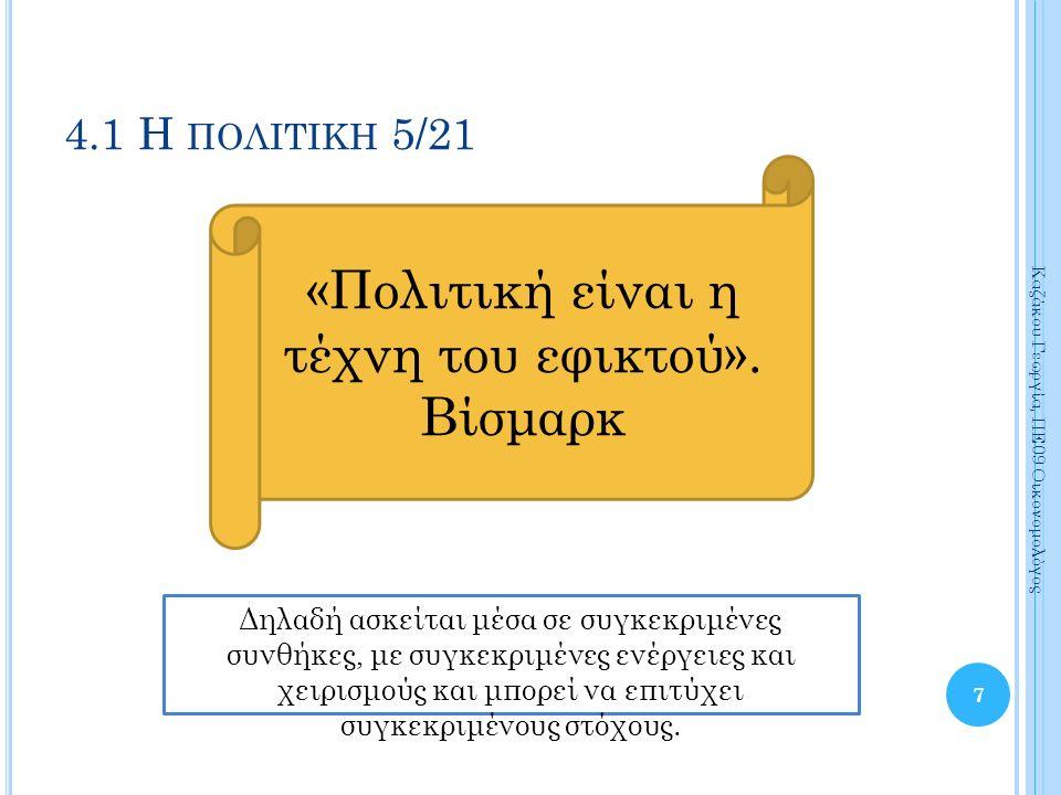 7 Καζάκου Γεωργία, ΠΕ09 Οικονομολόγος 4.1 Η ΠΟΛΙΤΙΚΗ 5/21 «Πολιτική είναι η τέχνη του εφικτού».