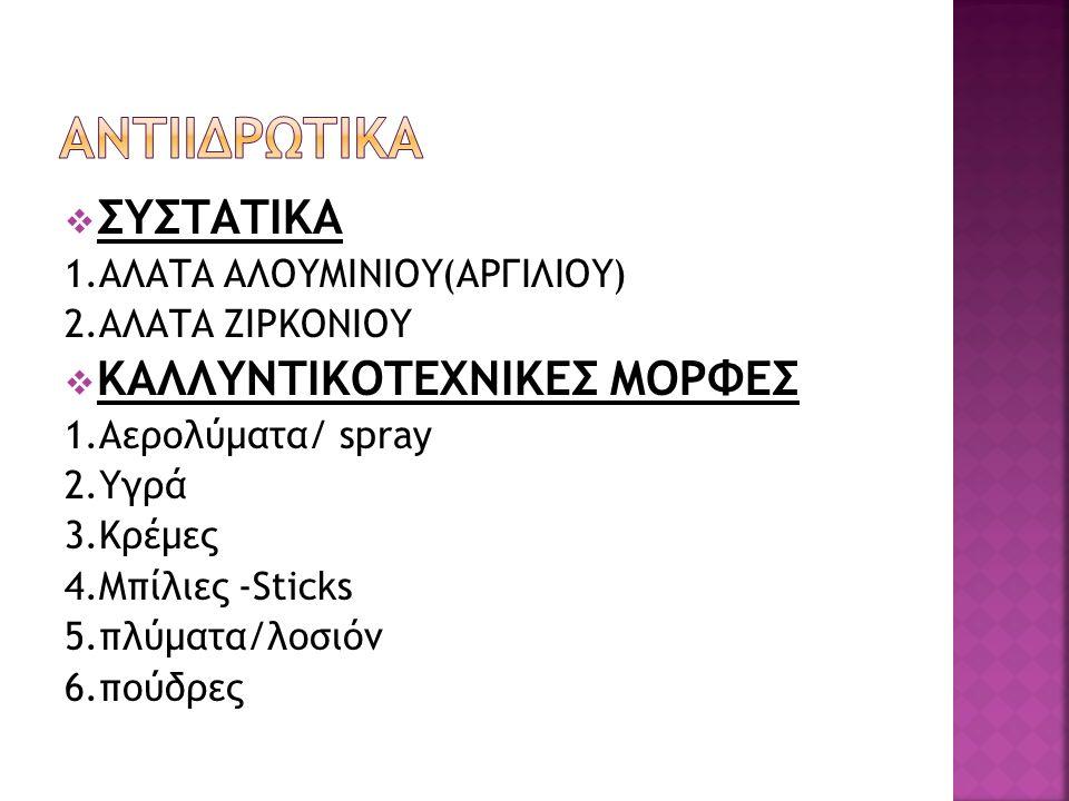  ΣΥΣΤΑΤΙΚΑ 1.ΑΛΑΤΑ ΑΛΟΥΜΙΝΙΟΥ(ΑΡΓΙΛΙΟΥ) 2.ΑΛΑΤΑ ΖΙΡΚΟΝΙΟΥ  ΚΑΛΛΥΝΤΙΚΟΤΕΧΝΙΚΕΣ ΜΟΡΦΕΣ 1.Αερολύματα/ spray 2.Υγρά 3.Κρέμες 4.Μπίλιες -Sticks 5.πλύματα/λοσιόν 6.πούδρες