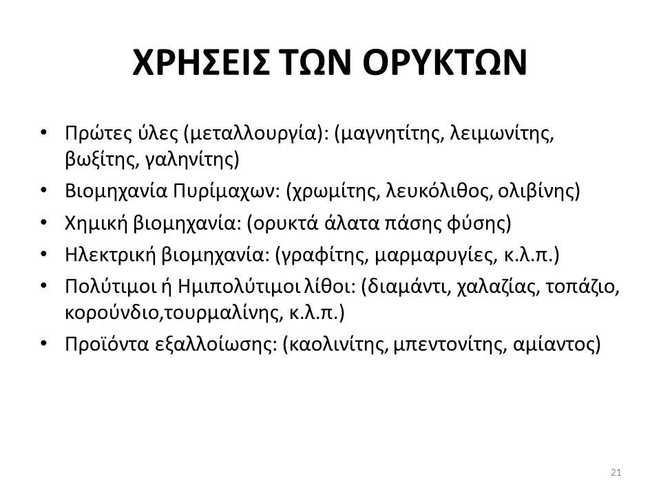 ΧΡΗΣΕΙΣ ΤΩΝ ΟΡΥΚΤΩΝ Πρώτες ύλες (μεταλλουργία): (μαγνητίτης, λειμωνίτης, βωξίτης, γαληνίτης) Βιομηχανία Πυρίμαχων: (χρωμίτης, λευκόλιθος, ολιβίνης) Χημική βιομηχανία: (ορυκτά άλατα πάσης φύσης) Ηλεκτρική βιομηχανία: (γραφίτης, μαρμαρυγίες, κ.λ.π.) Πολύτιμοι ή Ημιπολύτιμοι λίθοι: (διαμάντι, χαλαζίας, τοπάζιο, κορούνδιο,τουρμαλίνης, κ.λ.π.) Προϊόντα εξαλλοίωσης: (καολινίτης, μπεντονίτης, αμίαντος) 21