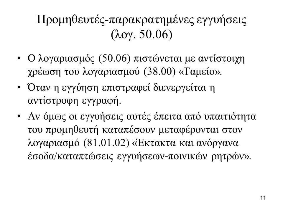 11 Προμηθευτές-παρακρατημένες εγγυήσεις (λογ.