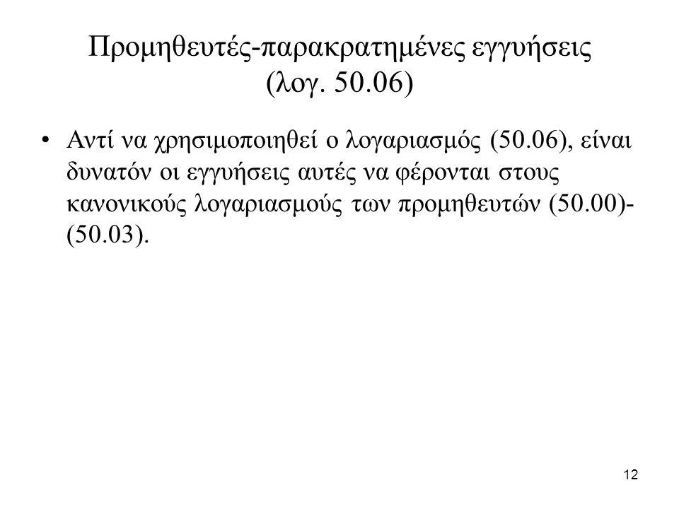 12 Προμηθευτές-παρακρατημένες εγγυήσεις (λογ.