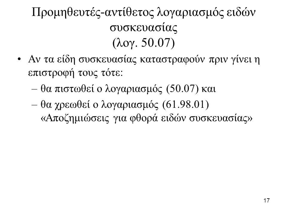 17 Προμηθευτές-αντίθετος λογαριασμός ειδών συσκευασίας (λογ.