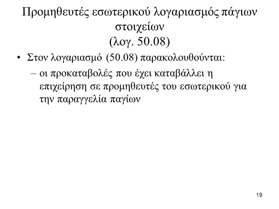 19 Προμηθευτές εσωτερικού λογαριασμός πάγιων στοιχείων (λογ.