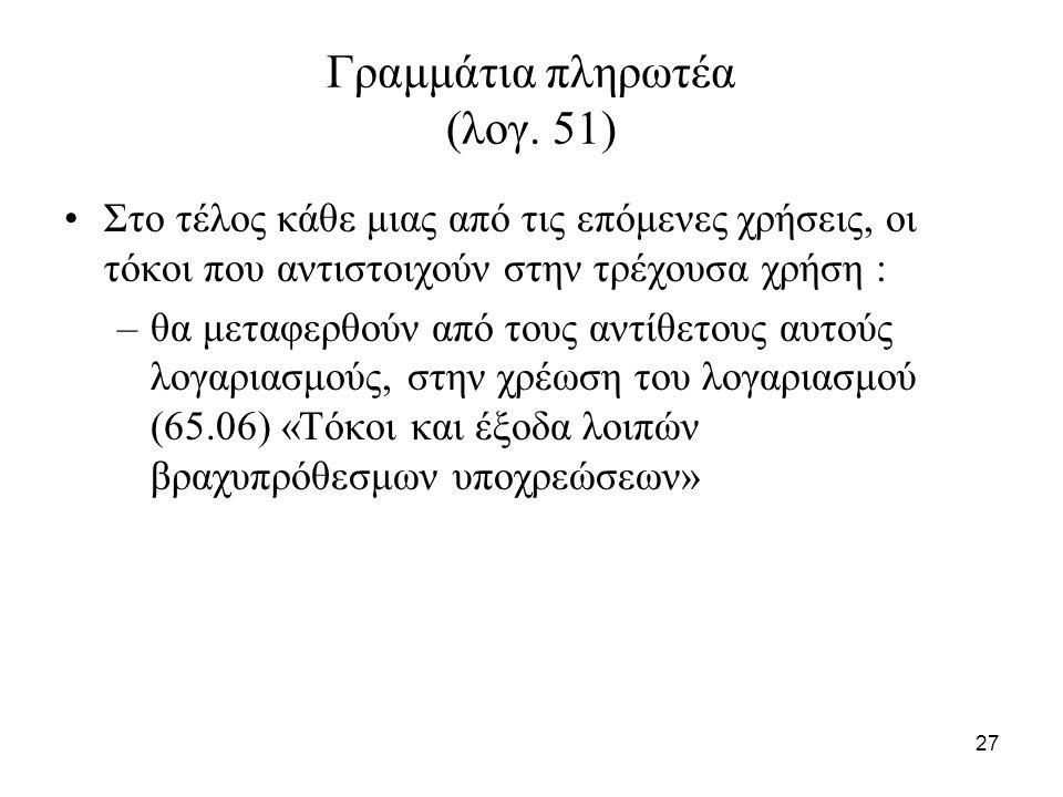 27 Γραμμάτια πληρωτέα (λογ.