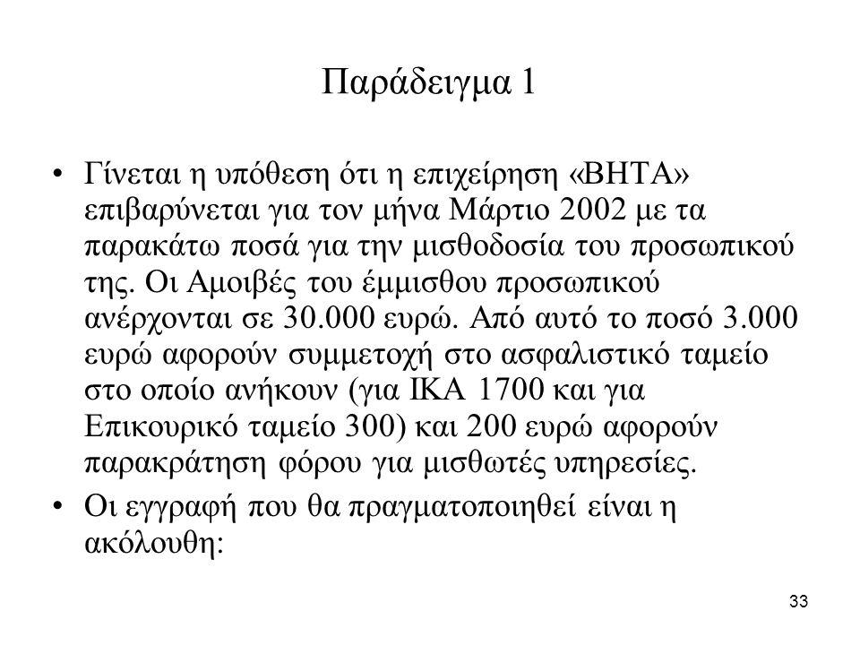 33 Παράδειγμα 1 Γίνεται η υπόθεση ότι η επιχείρηση «ΒΗΤΑ» επιβαρύνεται για τον μήνα Μάρτιο 2002 με τα παρακάτω ποσά για την μισθοδοσία του προσωπικού της.