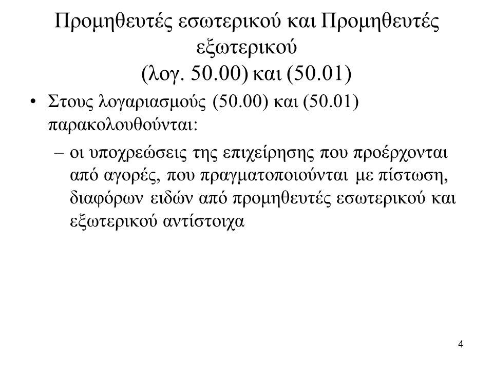 4 Προμηθευτές εσωτερικού και Προμηθευτές εξωτερικού (λογ.