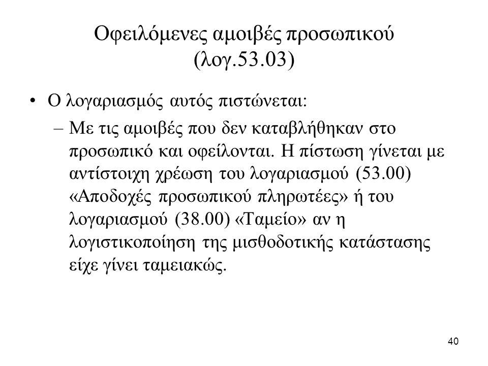 40 Οφειλόμενες αμοιβές προσωπικού (λογ.53.03) Ο λογαριασμός αυτός πιστώνεται: –Με τις αμοιβές που δεν καταβλήθηκαν στο προσωπικό και οφείλονται.