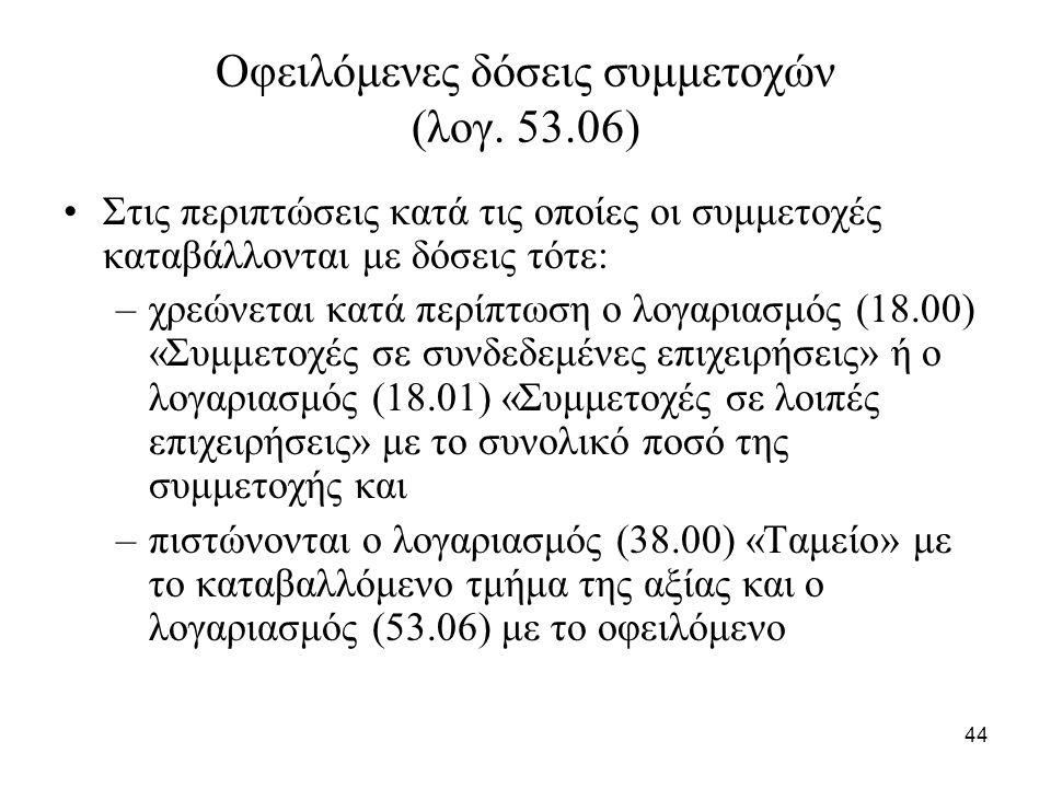 44 Οφειλόμενες δόσεις συμμετοχών (λογ.