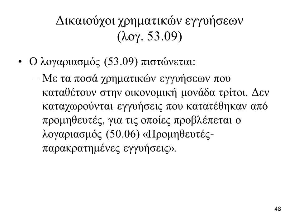 48 Δικαιούχοι χρηματικών εγγυήσεων (λογ.