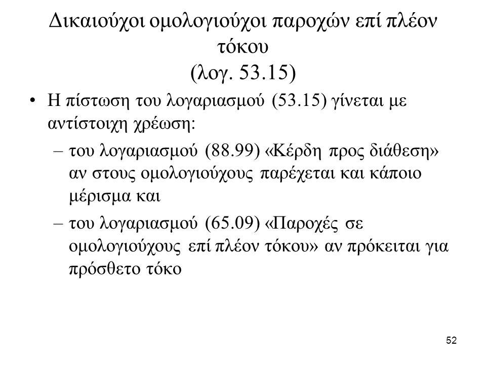 52 Δικαιούχοι ομολογιούχοι παροχών επί πλέον τόκου (λογ.