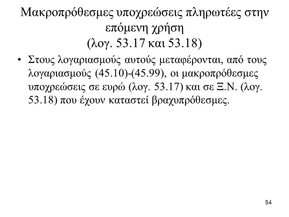 54 Μακροπρόθεσμες υποχρεώσεις πληρωτέες στην επόμενη χρήση (λογ.