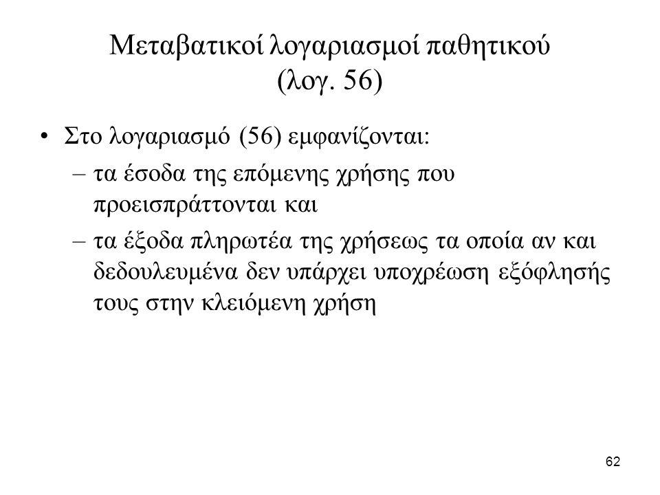 62 Μεταβατικοί λογαριασμοί παθητικού (λογ.