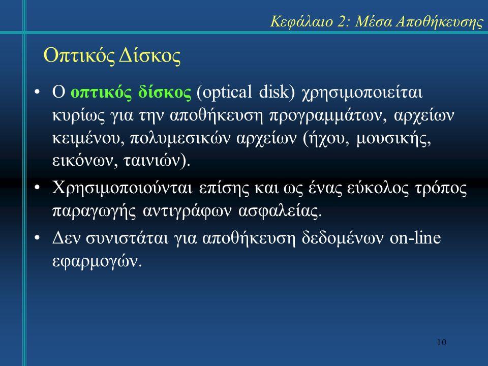 10 Κεφάλαιο 2: Μέσα Αποθήκευσης Ο οπτικός δίσκος (optical disk) χρησιμοποιείται κυρίως για την αποθήκευση προγραμμάτων, αρχείων κειμένου, πολυμεσικών