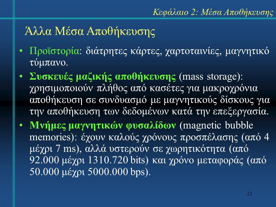 21 Κεφάλαιο 2: Μέσα Αποθήκευσης Προϊστορία: διάτρητες κάρτες, χαρτοταινίες, μαγνητικό τύμπανο. Συσκευές μαζικής αποθήκευσης (mass storage): χρησιμοποι