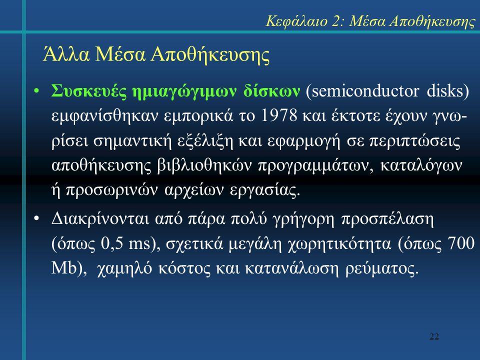 22 Κεφάλαιο 2: Μέσα Αποθήκευσης Συσκευές ημιαγώγιμων δίσκων (semiconductor disks) εμφανίσθηκαν εμπορικά το 1978 και έκτοτε έχουν γνω- ρίσει σημαντική εξέλιξη και εφαρμογή σε περιπτώσεις αποθήκευσης βιβλιοθηκών προγραμμάτων, καταλόγων ή προσωρινών αρχείων εργασίας.