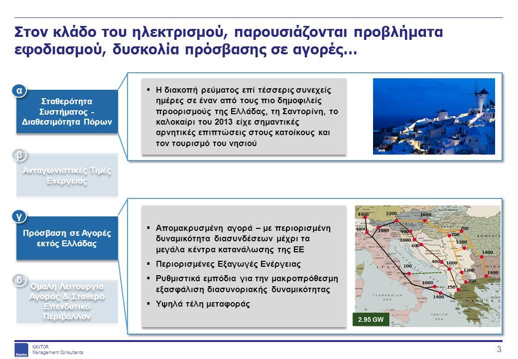KANTOR Management Consultants Στον κλάδο του ηλεκτρισμού, παρουσιάζονται προβλήματα εφοδιασμού, δυσκολία πρόσβασης σε αγορές…  H διακοπή ρεύματος επί τέσσερις συνεχείς ημέρες σε έναν από τους πιο δημοφιλείς προορισμούς της Ελλάδας, τη Σαντορίνη, το καλοκαίρι του 2013 είχε σημαντικές αρνητικές επιπτώσεις στους κατοίκους και τον τουρισμό του νησιού  Απομακρυσμένη αγορά – με περιορισμένη δυναμικότητα διασυνδέσεων μέχρι τα μεγάλα κέντρα κατανάλωσης της ΕΕ  Περιορισμένες Εξαγωγές Ενέργειας  Ρυθμιστικά εμπόδια για την μακροπρόθεσμη εξασφάλιση διασυνοριακής δυναμικότητας  Υψηλά τέλη μεταφοράς  Απομακρυσμένη αγορά – με περιορισμένη δυναμικότητα διασυνδέσεων μέχρι τα μεγάλα κέντρα κατανάλωσης της ΕΕ  Περιορισμένες Εξαγωγές Ενέργειας  Ρυθμιστικά εμπόδια για την μακροπρόθεσμη εξασφάλιση διασυνοριακής δυναμικότητας  Υψηλά τέλη μεταφοράς Σταθερότητα Συστήματος - Διαθεσιμότητα Πόρων Ανταγωνιστικές Τιμές Ενέργειας Πρόσβαση σε Αγορές εκτός Ελλάδας Ομαλή Λειτουργία Αγοράς & Σταθερό Επενδυτικό Περιβάλλον α α β β γ γ δ δ 3