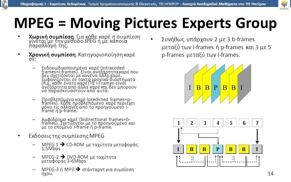 1414 Πληροφορική Ι – Συμπίεση δεδομένων, Τμήμα Χρηματοοικονομικής & Ελεγκτικής, ΤΕΙ ΗΠΕΙΡΟΥ - Ανοιχτά Ακαδημαϊκά Μαθήματα στο ΤΕΙ Ηπείρου MPEG = Moving Pictures Experts Group Χωρική συμπίεση.