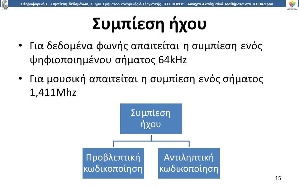 1515 Πληροφορική Ι – Συμπίεση δεδομένων, Τμήμα Χρηματοοικονομικής & Ελεγκτικής, ΤΕΙ ΗΠΕΙΡΟΥ - Ανοιχτά Ακαδημαϊκά Μαθήματα στο ΤΕΙ Ηπείρου Συμπίεση ήχου Για δεδομένα φωνής απαιτείται η συμπίεση ενός ψηφιοποιημένου σήματος 64kHz Για μουσική απαιτείται η συμπίεση ενός σήματος 1,411Mhz Συμπίεση ήχου Προβλεπτική κωδικοποίηση Αντιληπτική κωδικοποίηση 15