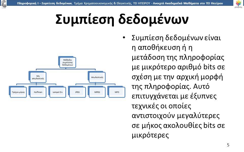 5 Πληροφορική Ι – Συμπίεση δεδομένων, Τμήμα Χρηματοοικονομικής & Ελεγκτικής, ΤΕΙ ΗΠΕΙΡΟΥ - Ανοιχτά Ακαδημαϊκά Μαθήματα στο ΤΕΙ Ηπείρου Συμπίεση δεδομένων Συμπίεση δεδομένων είναι η αποθήκευση ή η μετάδοση της πληροφορίας με μικρότερο αριθμό bits σε σχέση με την αρχική μορφή της πληροφορίας.