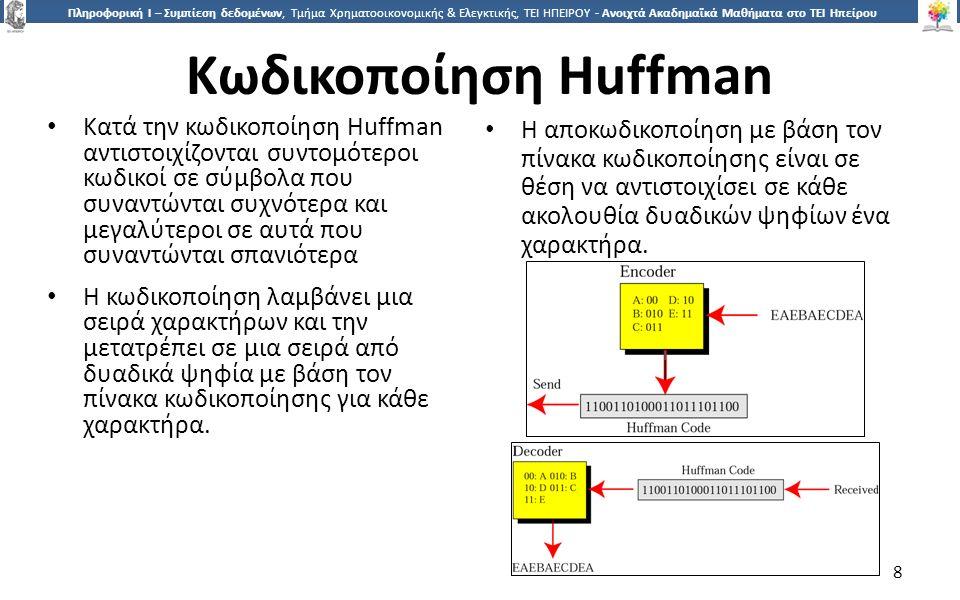 8 Πληροφορική Ι – Συμπίεση δεδομένων, Τμήμα Χρηματοοικονομικής & Ελεγκτικής, ΤΕΙ ΗΠΕΙΡΟΥ - Ανοιχτά Ακαδημαϊκά Μαθήματα στο ΤΕΙ Ηπείρου Κωδικοποίηση Huffman Κατά την κωδικοποίηση Huffman αντιστοιχίζονται συντομότεροι κωδικοί σε σύμβολα που συναντώνται συχνότερα και μεγαλύτεροι σε αυτά που συναντώνται σπανιότερα Η κωδικοποίηση λαμβάνει μια σειρά χαρακτήρων και την μετατρέπει σε μια σειρά από δυαδικά ψηφία με βάση τον πίνακα κωδικοποίησης για κάθε χαρακτήρα.
