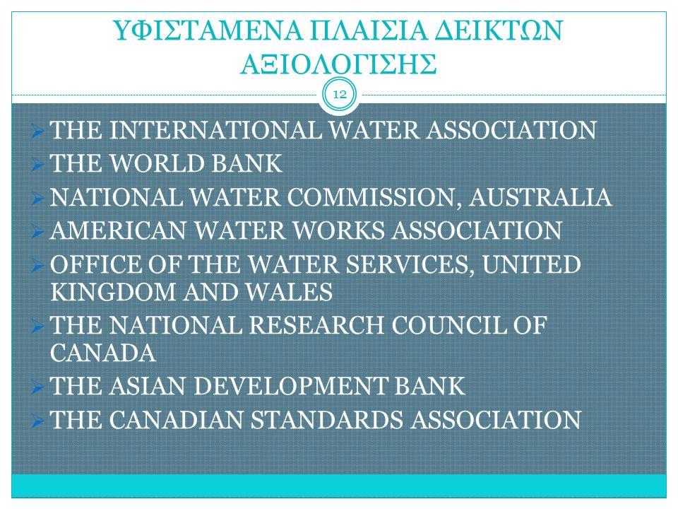 ΥΦΙΣΤΑΜΕΝΑ ΠΛΑΙΣΙΑ ΔΕΙΚΤΩΝ ΑΞΙΟΛΟΓΙΣΗΣ  THE INTERNATIONAL WATER ASSOCIATION  THE WORLD BANK  NATIONAL WATER COMMISSION, AUSTRALIA  AMERICAN WATER WORKS ASSOCIATION  OFFICE OF THE WATER SERVICES, UNITED KINGDOM AND WALES  THE NATIONAL RESEARCH COUNCIL OF CANADA  THE ASIAN DEVELOPMENT BANK  THE CANADIAN STANDARDS ASSOCIATION 12