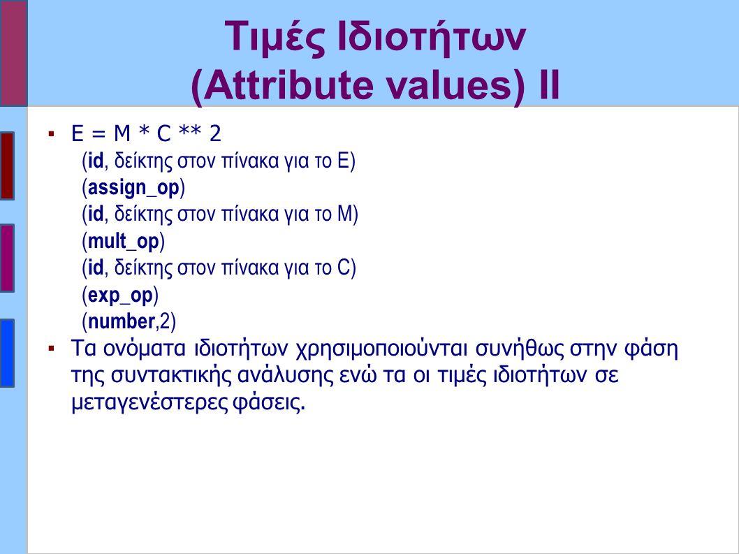 Τιμές Ιδιοτήτων (Attribute values) II ▪Ε = Μ * C ** 2 ( id, δείκτης στον πίνακα για το Ε) ( assign_op ) ( id, δείκτης στον πίνακα για το M) ( mult_op ) ( id, δείκτης στον πίνακα για το C) ( exp_op ) ( number,2) ▪Τα ονόματα ιδιοτήτων χρησιμοποιούνται συνήθως στην φάση της συντακτικής ανάλυσης ενώ τα οι τιμές ιδιοτήτων σε μεταγενέστερες φάσεις.