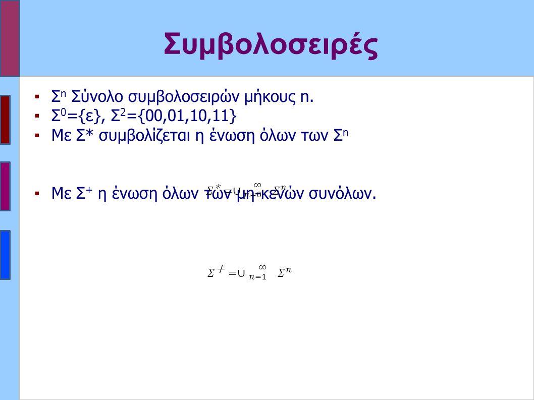 Συμβολοσειρές ▪Σ n Σύνολο συμβολοσειρών μήκους n.