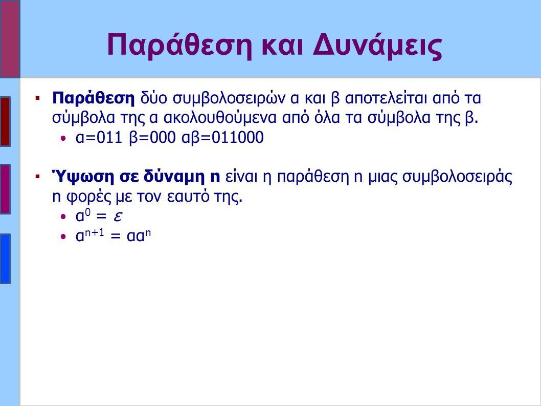 Παράθεση και Δυνάμεις ▪Παράθεση δύο συμβολοσειρών α και β αποτελείται από τα σύμβολα της α ακολουθούμενα από όλα τα σύμβολα της β.